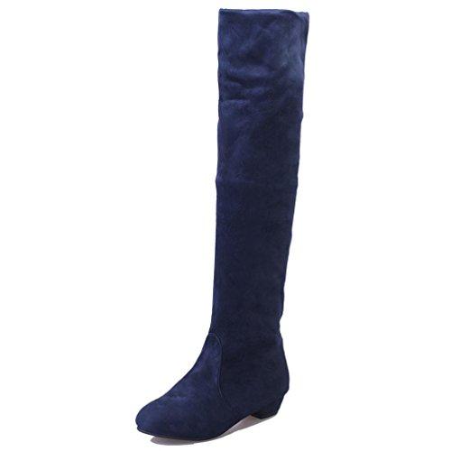 99973cd329ef Damen Schuhe DELLIN Frauen Winter Mode Herbst flacher Overknee Stiefel  beschuht hohe Bein-Wildleder-