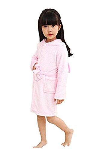 (Mystery&Melody Kinder Einhorn Bademantel Flanell Mit Kapuze Süss Schlafanzug Cosplay Kostüme Tiere Ankleiden Unisex (140:130-140cm, Rosa))