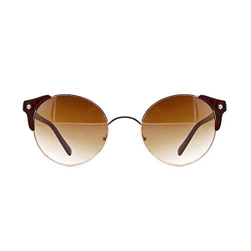 Honneury Frame Retro Runde Sonnenbrille für Frauen Männer (Farbe : Red Frame/Tea Lens)
