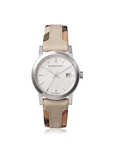SALE! Authentic Burberry LUXURY RARE Watch Womens Unisex Men The City Haymarket Check Fabric Authentic Leather Silver Dial Date BU9132