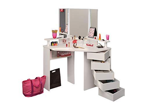 Jugendmöbel24.de Eck-Schminktisch Mädchen Kinderzimmer Frisierkommode Kommode Schminkspiegel Make up Spiegel Kosmetiktisch Kosmetik Set Frisiertisch -