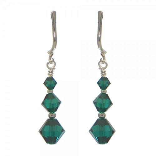 ldet Emerald Kristall-Clip auf Ohrringe (Emerald Green Ohrringe Modeschmuck)