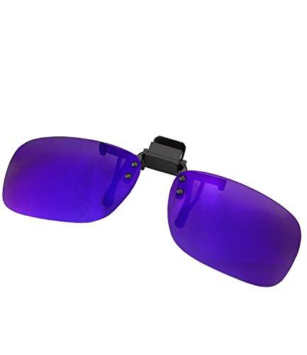 Brillen-Clip Sonnenbrille Clip on Brillenaufsatz polarisierend verspiegelt + getönt Herren Damen - mth4 (ko18 - blau verspiegelt)