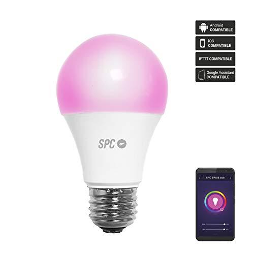 SPC Sirius 1050: Bombilla LED Wi-Fi E27, 10 W, 1050 lm, iluminación inteligente, luz blanca cálida y de color RGBW, control remoto mediante aplicación móvil SPC IoT [Clase de eficiencia energética A+]