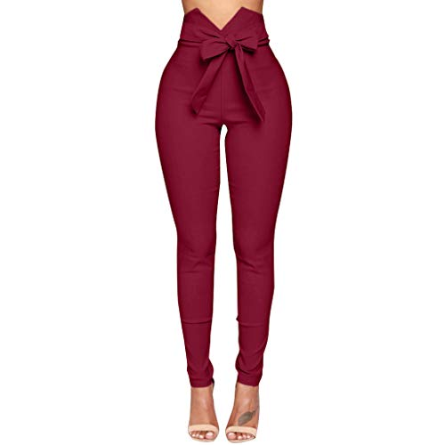 SIOPEW Hosen Damen Sommer Hohe Taille Hose Sexy Bow Slim Einfache Elastische Hose