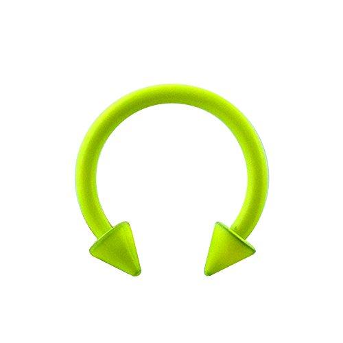 16 Gauge - 8 MM Länge Licht grün Neon eloxiertem 316L chirurgischer Stahl Circular Barbell mit Kegel Septum Piercing