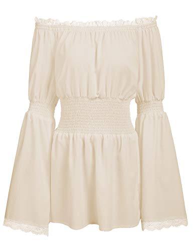 Trudge Damen Schulterfrei Vintage Bluse Lange Ärmel Spitze Rüschen Smocked Taille Boho Tops Shirts Frühling Herbst Winter (XXL, Aprikose) -