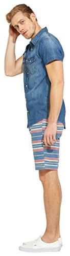 Wrangler Herren Freizeithemd Western Shirt Blau (Used  Indigo Te)