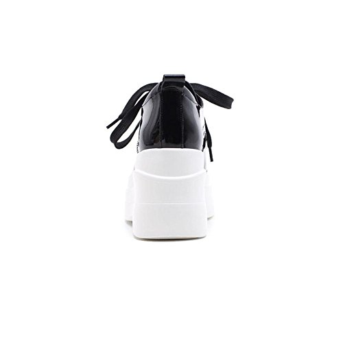 Suola Spessa Piattaforma Donna WSXY-A0504 Vernice Liscia Tacco Zeppa Piattaforma Fondo,KJJDE Black