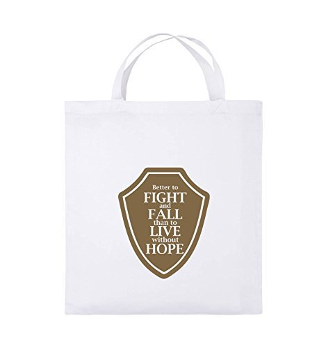 Comedy Bags - Better to fight and fall than to live wihtout hope - Jutebeutel - kurze Henkel - 38x42cm - Farbe: Schwarz / Pink Weiss / Hellbraun