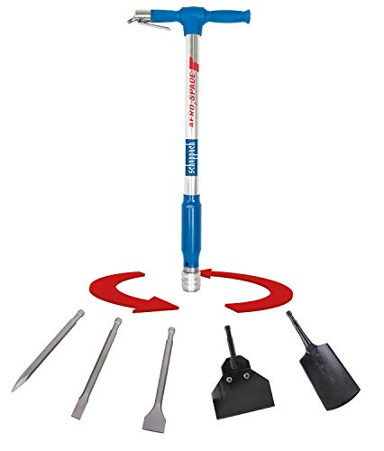 Scheppach Druckluft-Spaten Aero²Spade für Kompressor (Drucklufthammer 27 Joule, 6,3 bar, Kombi-Gerät mit Schnellwechselsystem, Druckluftmeissel inkl. 5 Werkzeugaufsätze Set)