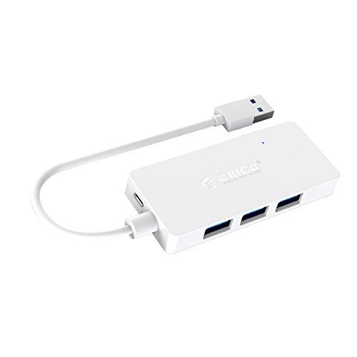 ORICO 4-Port USB 3.0 Hub, dünn und tragbar, Ultra High-Speed (bis zu 5 Gb/s), unterstützt OTG, mit Einem zum Aufladen für USB Micro-B 5V reserviertem Stromanschluss