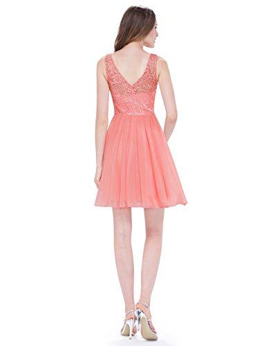 Ever Pretty Robe de Demoiselle d'honneur Robe de Soirée Jolie Courte Col Rond 05491 Pêche