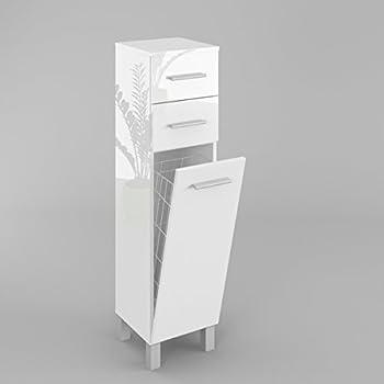 Badezimmerschrank Badmöbel Hochschrank Mit Wäschekorb Sn5 In Weiß