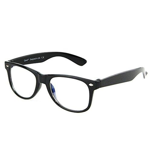 Cyxus Blaue Licht Filter Brille für kinder und jugendliche [transparente linse] anti Ermüdung der Augen das Auge des Kindes Schützen Brille (Brillen ohne Grad) 5-8 jahre alt (Schwarzer)