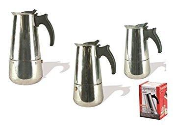viscio Trading A & F Espresso Coffee Maker 4Cups, Silver, Steel, 12x 9x 18cm