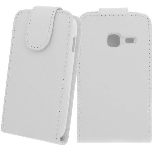 Flip Case Kunstledertasche für Samsung Galaxy ACE Duos GT-S6802 Weiß - Flip Case Tasche Hülle Schale