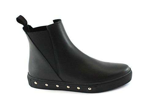 Frau 39H6 Chaussures Noir Femme Bottes Beatles Peau Élastique