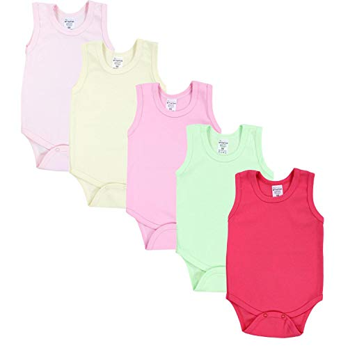 TupTam Baby Mädchen Achselbody in Unifarben 5er Pack, Farbe: Farbenmix 2, Größe: 86