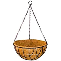 GARDEN KING - 10 INCH Coir Hanging Basket with Chain - Designer Coir Hanging Flower Plant Container for Indoor and…