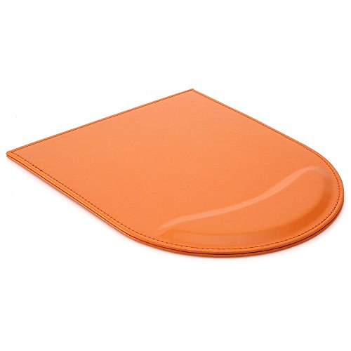 Zedtom Qualitativ hochwertig PU-Leder Mauspad mit Handauflage für Büroarbeit, Orange