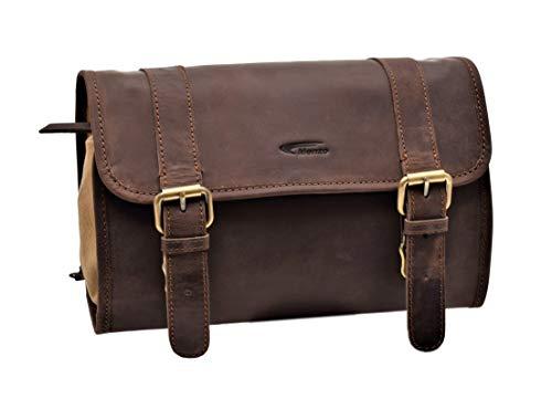 Menzo Kulturbeutel zum Aufhängen, aus echten Leder, Kulturtasche, Toilettentasche, Damen und Herren (Marrone)