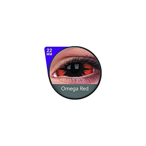 1 Paar Sclera OMEGA RED Kontaktlinsen linsen farbige rot schwarz vampir sklera mit Box dämon halloween kostüme scleral