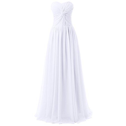 Find Dress Femme Sexy Robe de Soirée/Cocktail/Cérémonie avec Plis Robe Formelle Bustier Lacet Longue en Mousseline de Soie Blanc