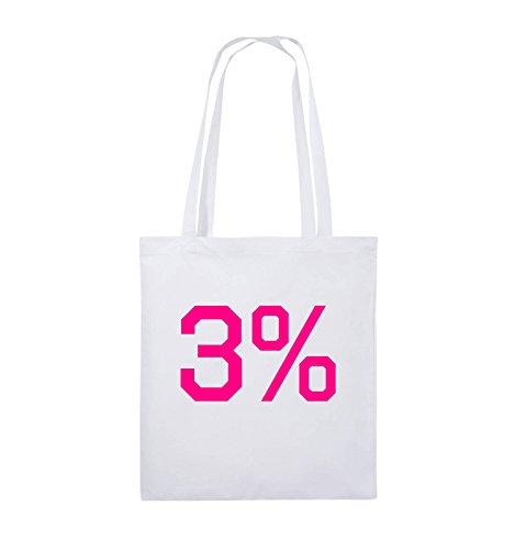 Buste Comiche - 3% - Logo - Borsa In Juta - Manico Lungo - 38x42cm - Colore: Nero / Argento Bianco / Rosa