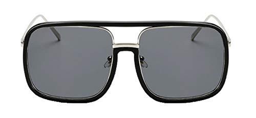 Tianba Unisex Klassisch Rechteckig Sonnenbrillen Large-Gerahmte Brille Sommer Winddicht Spiegel Persönlichkeit Flacher Spiegel