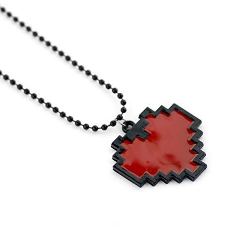 VAWAA Anime Pixels Coeur Collier Undertale Cosplay De Frisk-24 Longueur Rouge Coeur Pendentif Colliers pour Femmes Hommes Mode Bijoux
