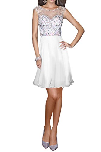Milano Bride Damen Brillante Chiffon A-Linie Abendkleid Partykleider Festkleider Steine Bodenlang Weiss-Kurz