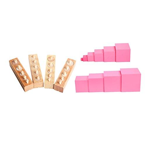 FLAMEER Set Famiglia Montessori Torre Rosa + Blocchi Cilindri Per Bambini Educativi