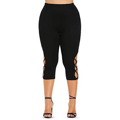 Youtaimei Zufriedenstellendes Produkt Plus Size Criss-Cross Leggings mit Print-Print Plus Size High Rise Leggings mit hohem Bund Schnürung dünne Hosen Halloween-Kürbis Fashion (Size : 4X)