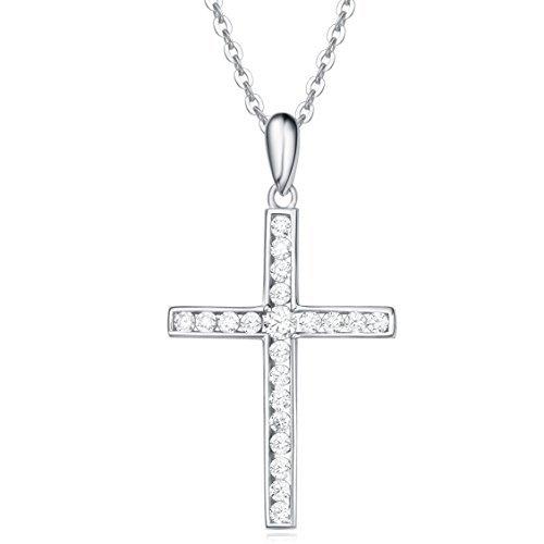Collar con Colgante de Cruz para Mujer de Plata de Ley 925 con Circonita Cúbica - Longitud Cadena: 40 + 5 cm