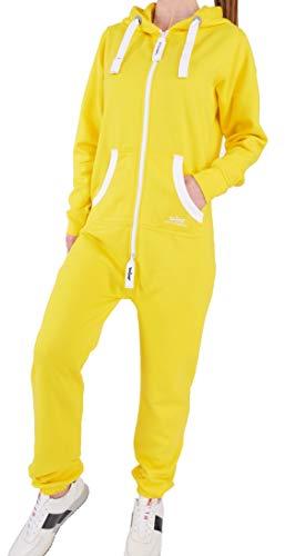 HQ3 Finchgirl Damen Jumpsuit Jogging Anzug Trainingsanzug Overall Gelb - Gelber Jumpsuit Kostüm