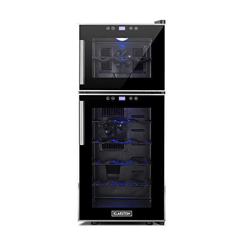Klarstein Reserva 21 • Weinkühlschrank mit Doppel-Glastür • Getränkekühlschrank • Nutzungsinhalt: 56 Liter • 21 Flaschen • 2 separate Kühlzonen • Touch-Bedienung • LED-Anzeige • 40 dB leise • schwarz -