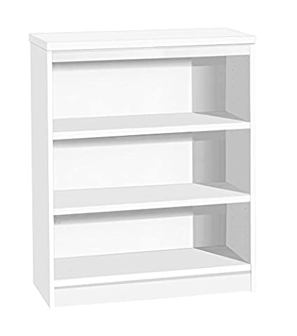 Home Office Furniture UK Bookcase No Assembly Required Bookshelf Files, Wood, White, satin Profile