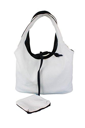 Zerimar Reversible di alta qualità borsa di pelle morbida e versatile Nero-rosso Blu navy-bianco