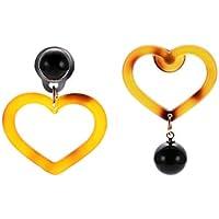 FEIDAjdzf - Colgante de Resina con Forma de Bola de Corazones, Ideal para decoración de Bodas y Fiestas, Yellow + Black
