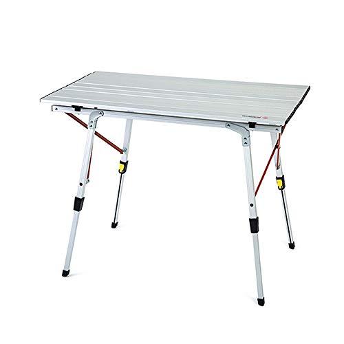 SQYY Outdoor Klapptisch Klapp Picknick Camping Grill Tisch Faul Tisch Einfach Tragbar Erweiterungsgröße: 90Cm * 53Cm * 44-70Cm Produktfarbe: Silberweiß Klappgröße: 93Cm * 14,5Cm * 17Cm -
