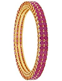 Cardinal American Diamond Gold Plated Bangles Jewellery For Women - Set Of 2
