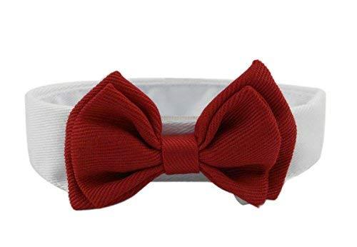 Ylen 2 x Haustier Hunde Katzen Welpen Krawatte Einstellbar Baumwolle Kragen Rote Fliege Formale Bowknot Halsketten -