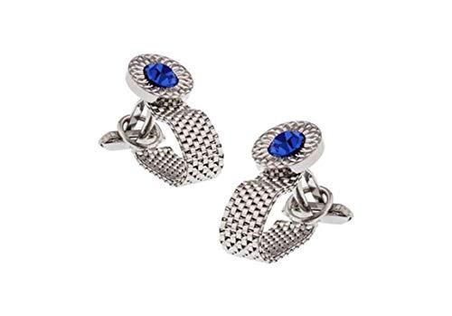 Bishilin Edelstahl Herren Business Manschettenknöpfe Kette mit Blau Zirkonia Silber Manschettenknopf für Männer