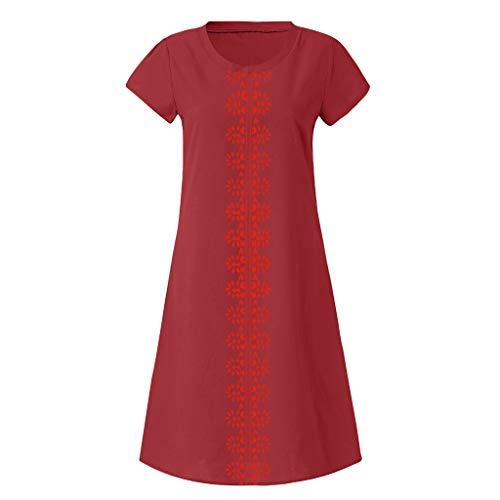 VECOLE Damenoberteile Sommer-Stil einfarbig O-Ausschnitt bedruckter Baumwollleinen lässig große Größe Damenbekleidung(Wein,L) -