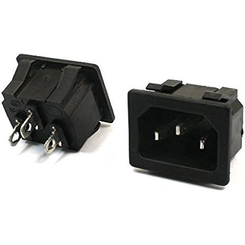 2 pezzi pannello da IEC320 C14 adattatore per spina di alimentazione AC 250 V 15 A