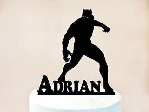 aufsatz, schwarzer Panther für Geburtstagstorte, schwarzer Panther Party, schwarzer Panther Dekoration, Superhelden-Kuchen ()