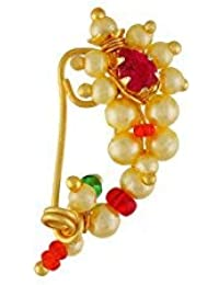 VAMA FASHIONS Gold Plated Non-Pierced Nose Ring Pink Colour Stone Along with Pearl Beads for Women - (Extra Small Size 2cm)