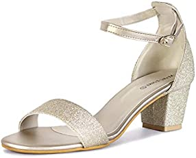 MarcLoire Women & Girls Footwear Sandals, Casual Wear Stylish & Fashionable Sandals, Party Wear Open Toe Fashion Sandals with Buckle Closure, Gold / ML00075306-P