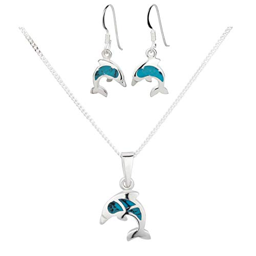 Five-d ciondolo con collana e orecchini a forma di delfino, in argento sterling 925, con custodia orecchino stopper